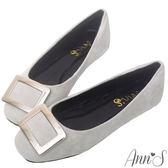 Ann'S法式氛柔-銀色方扣柔軟後跟方頭平底鞋-灰