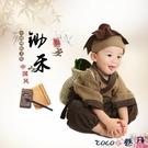 熱賣兒童漢服 漢服男童書童服裝兒童古裝男小和尚服中國風寶寶百天攝影鋤禾衣服 coco