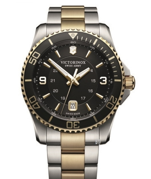 VICTORINOX 瑞士維氏 SWISS ARMY 水鬼風格 手錶 (VISA-249125) 黑金/43mm