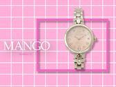 【時間道】MANGO活力花樣晶鑽刻度腕錶 / 粉貝幾合花紋面鋼帶 (MA6666L-11)免運費