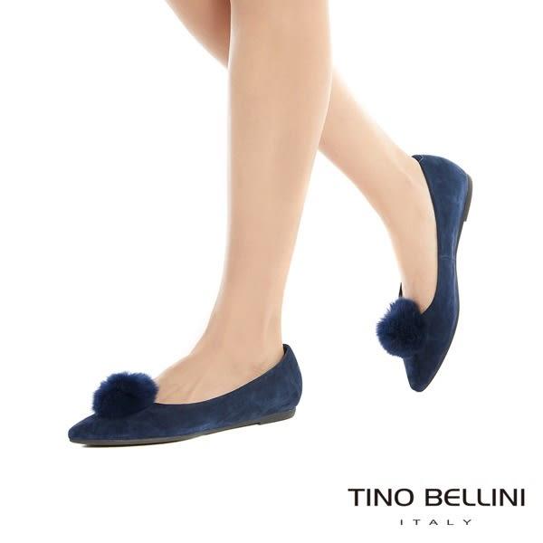 Tino Bellini 舒柔氣質毛球全真皮平底娃娃鞋 _ 藍 A79043A