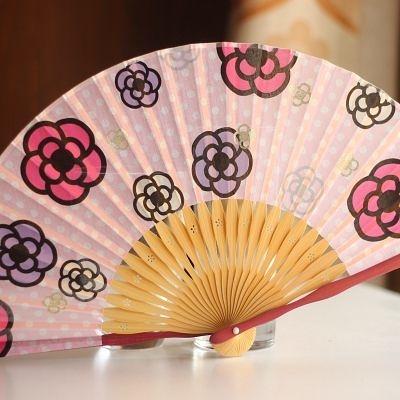 扇 燙金朵朵櫻花 粉邊