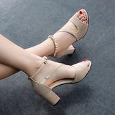 性感魚嘴中空羅馬涼鞋粗跟一字帶串珠高跟鞋女 檸檬衣捨