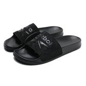 REEBOK 涼拖鞋 FULGERE SLIDE 全黑 大LOGO 花紋 女 (布魯克林) CN6466