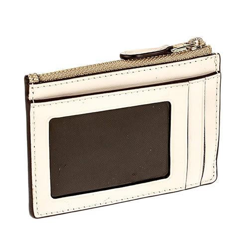 COACH LOGO馬車PVC皮革卡夾鑰匙零錢包 卡其LOGO皮革x米白