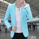 春秋新款男生修身小西裝潮男韓版發型師純色長袖西服外套   莉卡嚴選