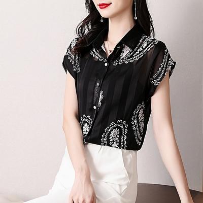 短版上衣 涼感上衣M-4XL氣質翻領黑色條紋雪紡衫女洋氣印花百搭短袖上衣NA060-C1.胖丫