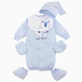【愛的世界】鋪棉北極熊兩用連身衣禮盒/3~6個月-台灣製- ★禮盒推薦