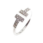 【特價18%OFF】TIFFANY&CO 蒂芙尼 T-Wire系列鑽石戒指 15.5號 K18WG 【BRAND OFF】