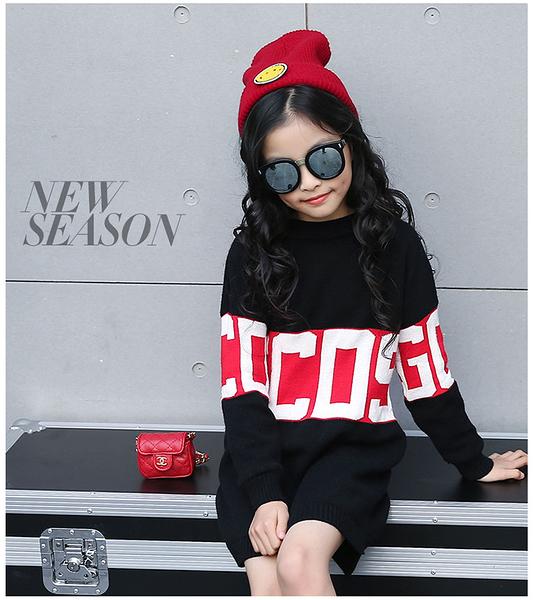 衣童趣♥韓版 中大女童 時尚潮流 加厚圓領 字母撞色毛衣連身裙 可當上衣穿 熱賣款