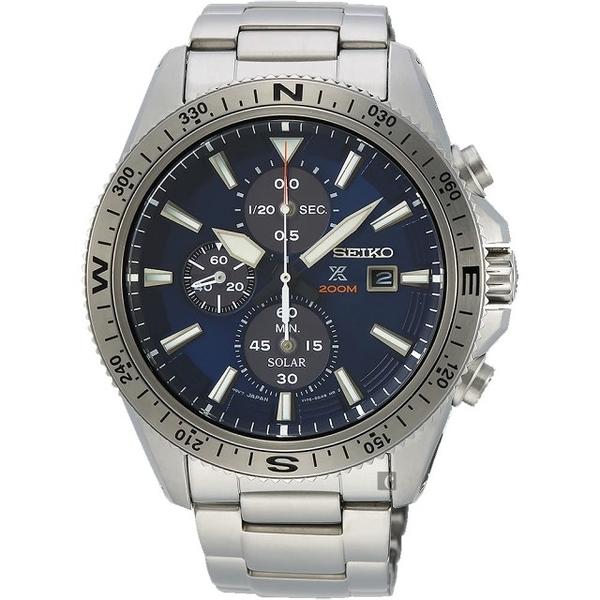 SEIKO精工 PROSPEX 太陽能計時手錶-藍/44mm V176-0BA0B(SSC703P1)