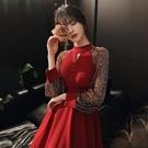 紅色禮服裙女宴會 尾牙禮服...