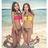韓 泳裝 小碎花 綁帶 比基尼 性感 鋼托集中 沙灘度假 泳衣