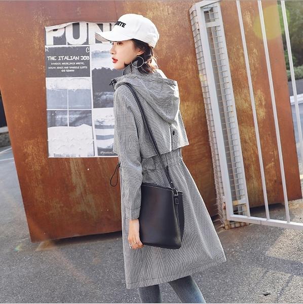 中大尺碼外套 韓版風衣外套連帽格子長袖休閒夾克  #ob10062 ❤卡樂❤