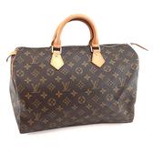【奢華時尚】LV M41524 經典字紋帆布Speedy 35波士頓包(八八成新)#24109