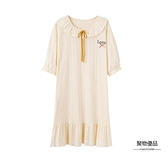 睡裙女夏季純棉短袖中裙甜美可愛學生可外穿連衣裙夏【聚物優品】