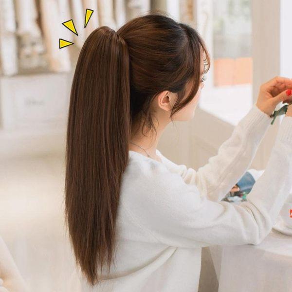 馬尾假髮韓系假髮女長直髮隱形無痕自然綁帶式假馬尾假髮片長髮抓夾辮子