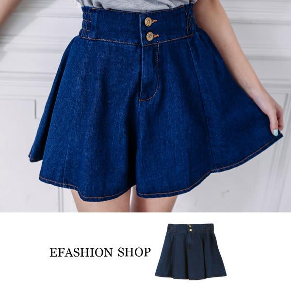 牛仔裙-腰兩釦牛仔短裙-eFashion 預【D15752891】