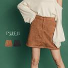 PUFII-短裙 麂皮後鬆緊短褲裙-1112 現+預 冬【CP17533】