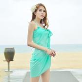比基尼 韓國新款小胸鋼托聚攏比基尼三件套 泳衣女 溫泉披紗泳裝性感分體