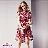 【SHOWCASE】甜美小碎花荷葉袖俏麗短版洋裝(紅)