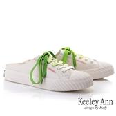 Keeley Ann我的日常生活 韓版全真皮餅乾穆勒鞋(米白色) -Ann系列