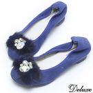 【Deluxe】全真皮鑽面質感麂皮貂毛內增高包鞋(藍)