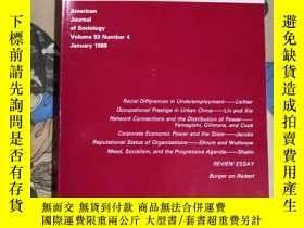 二手書博民逛書店AJS罕見American Journal of Sociology (Volume 93 Number 4 Ja