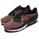 【四折特賣】Nike 休閒慢跑鞋 Air Max 90 Ultra 2.0 Flyknit 黑 彩虹 飛線編織 男鞋【PUMP306】 875943-002
