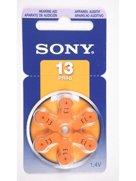 全館免運費【電池天地】SONY助聽器電池 PR48 ZA13 一卡六入裝 1.4V