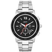 DKNY 嶄新跳動三眼計時腕錶-黑面銀