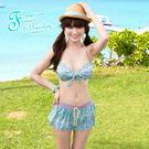 比基尼泳裝-日本品牌AngelLuna 現貨  波西米亞風印花鋼圈三件式溫泉沙灘泳衣