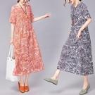 洋裝 連身裙 新款韓版寬鬆中大尺碼 女裝時尚休閒舒適棉麻短袖中長款連衣裙女 快速出貨