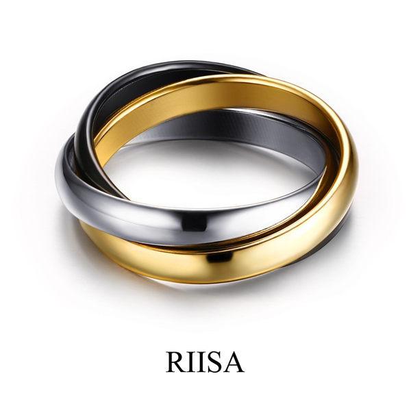 經典限量超稀有金銀黑三環鈦鋼戒指