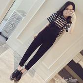 春裝新款韓國修身顯瘦時尚減齡純色百搭背帶褲女吊帶長褲color shop