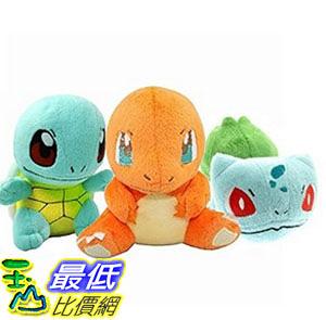 [美國直購] OliaDesign Pokemon Bulbasaur Charmander Squirtle Stuffed Plush (3 Piece), 5.8 毛絨玩具