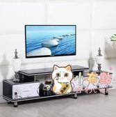 電視櫃電視櫃茶幾組合客廳現代簡約小戶型多功能鋼化玻璃伸縮電視機xw