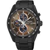 SEIKO 精工極速有型 太陽能三眼計時腕錶-黑x古銅 V176-0AP0B/SSC415P1