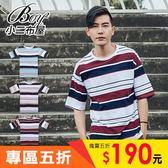 短T 簡約三色粗條紋圓領短袖T恤【NAA229】