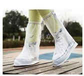 現貨出清鞋套 雨天透明加厚底防水耐磨防滑成人卡通學生男女高筒防水 俏女孩6-28
