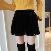 絲絨短褲女百搭外穿胖mm大碼港味靴褲高腰顯瘦金絲絨闊腿褲潮 黛尼時尚精品