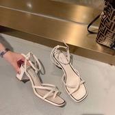 套趾方頭粗跟涼鞋女中跟細帶夾趾一字帶2020新款夏網紅溫柔晚晚鞋 高盛旗艦店