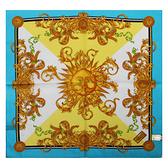 VERSACE古典太陽圖騰純棉手帕領巾(藍色)989017-12