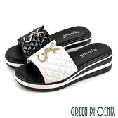 U29-26301 女款全真皮厚底楔型拖鞋 純色菱格英文水鑽全真皮厚底楔型拖鞋【GREEN PHOENIX】