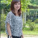 【碧多妮】動物紋雪紡飛鼠袖短版上衣...