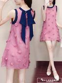 女裝夏裝2018新款無袖小個子雪紡連身裙子溫柔仙女裙超仙收腰短裙『韓女王』