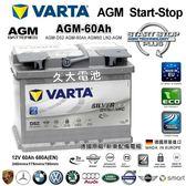 ✚久大電池❚德國 VARTA D52 AGM 60Ah 寶獅標緻PEUGEOT 107 2012 2016