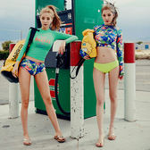 扶桑花兩件式泳裝 (花衣有鋼圈,綠衣無鋼圈)  比基尼 橘魔法 magic G 現貨 度假 泳裝 水母衣