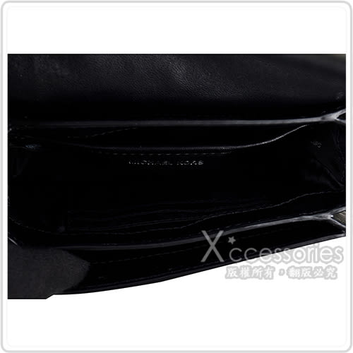 MK MICHAEL KORS JADE銀字LOGO滑面皮革三角紋鉚釘鑲飾三層鏈帶釦式斜背包(中/黑)
