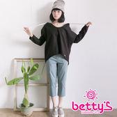 betty's貝蒂思 立體剪裁七分褲(藍灰)